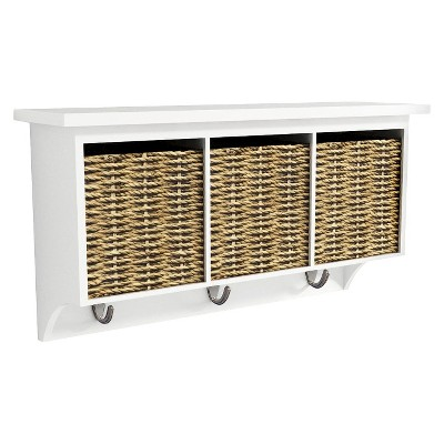Threshold™ Entryway Organizer with Seagrass Baskets - White