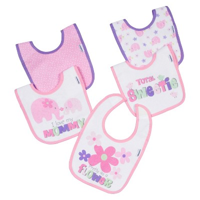 Gerber® Newborn Girls' 5 Pack Elephant Bib Set - Pink