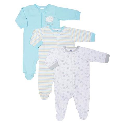 Gerber® Newborn 3 Pack Sleep N' Play Set - Turquoise/Grey