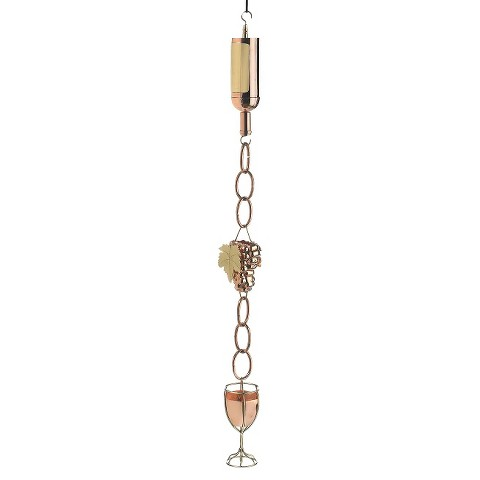 Good Directions Wine Bottle w/ Grapes & Glasses Rain Chain - Polished Copper