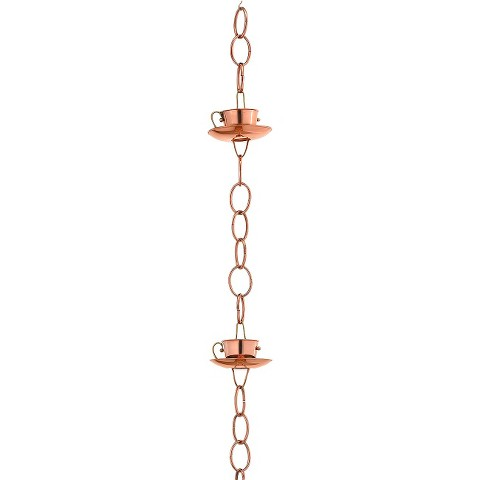 Good Directions Teacups Rain Chain - Polished Copper