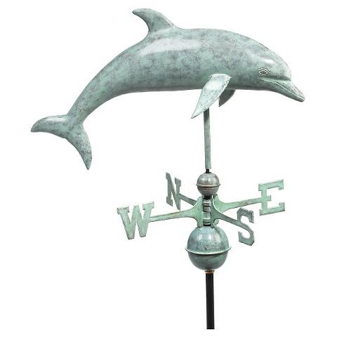 Good Directions Dolphin Weathervane - Blue Verde Copper