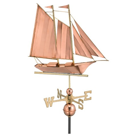 Good Directions Schooner Weathervane - Polished Copper