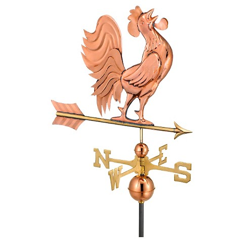 Good Directions Crowing Rooster Weathervane - Polished Copper