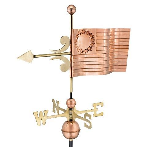 Good Directions US Flag Weathervane - Polished Copper