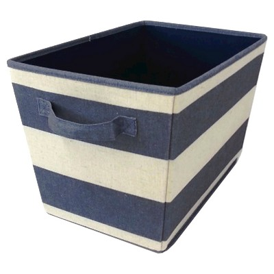 Striped Decorative Linen Bin Set of 2 - Orange - Blue