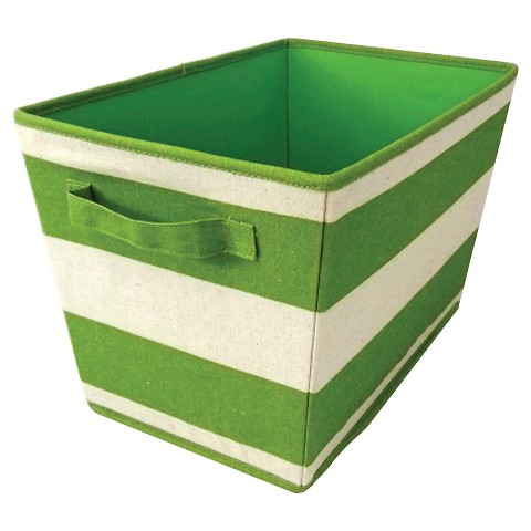 Circo™ Linen Decorative Bin Set of 2 - Green Rugby Stripes w/White