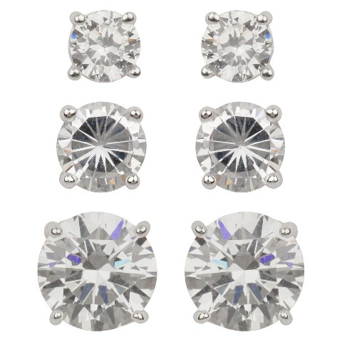 Stud Earring Set of 3 Radiant Cubic Zirconia- Silver/Clear
