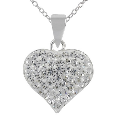 """Large Crystal Heart Pendant on 18"""" Chain - Silver/Clear"""