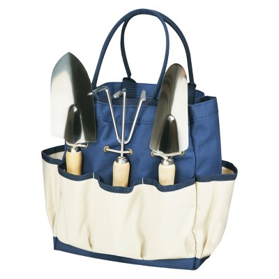 Picnic Time Garden Tote Large - Navy/Cream with 3 Pc Tools