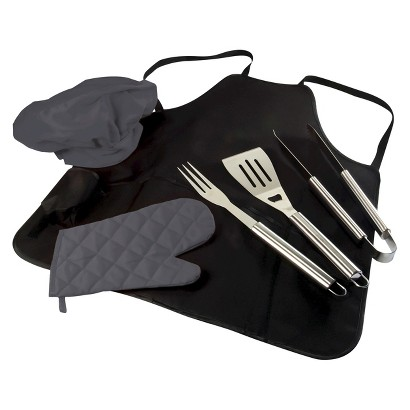 Picnic Time BBQ Apron Tote with Tools, Mitt and Chef's Hat