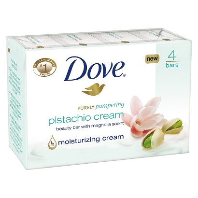 Dove Purely Pampering Pistachio Cream with Magnolia Beauty Bar 4 oz, 4 Bar