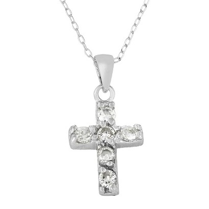 Lily Nily Sterling Silver Cubic Zirconia Children's Cross Pendant