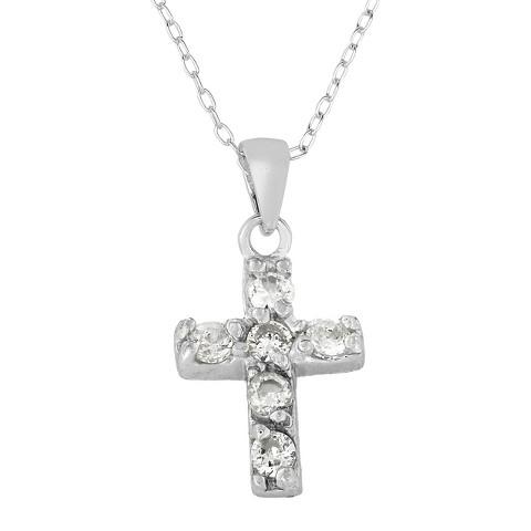 ELLEN Sterling Silver Cubic Zirconia Children's Cross Pendant