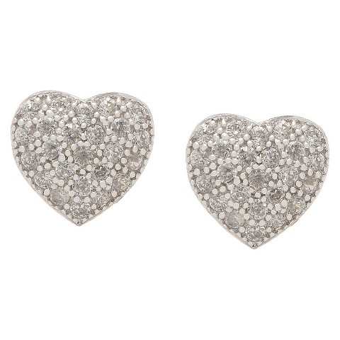 ELLEN Sterling Silver Cubic Zirconia Micro Pave Heart Stud Earrings
