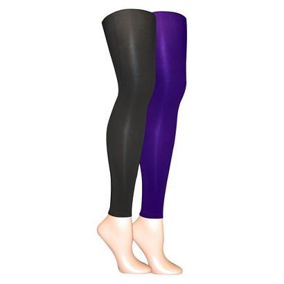 MUK LUKS® Women's 2-Pack Microfiber Footless Tights - Purple