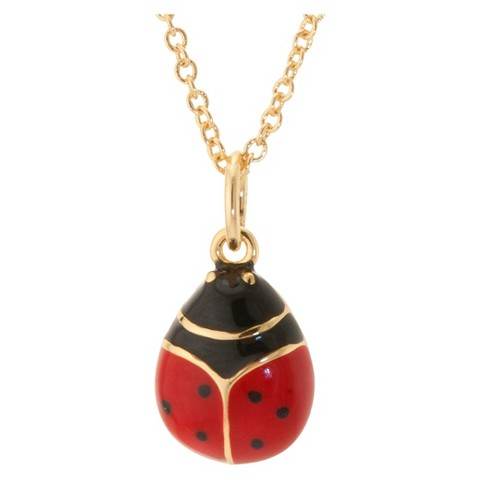 "Gold Plated and Enamel over LadyBug Pendant with Chain - Red (18"")"