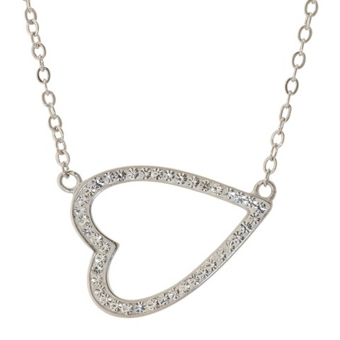 Silver Plated Heart Necklace - Clear