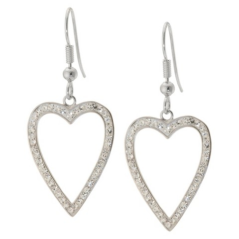 Silver Plated Heart Drop Earrings with Crystals - Clear