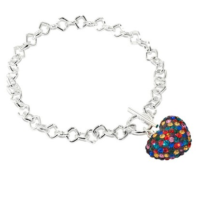 """Silver Plated Brass Bracelet with Crystal Heart – Multicolor (7.5"""")"""