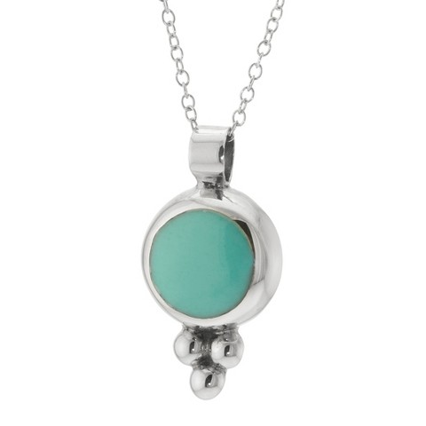 """Sterling Silver Round Pendant with Chain - Turquoise (18"""")"""