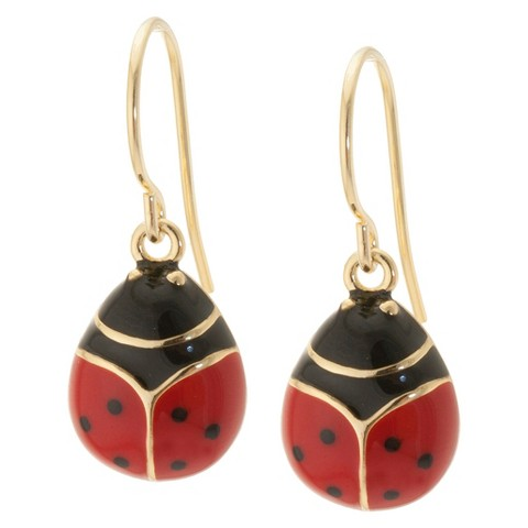 Gold Plated Drop Earrings with Enamel over LadyBug - Red