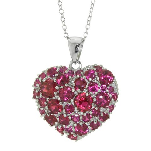 Sterling Silver Ruby Heart Pendant - Red