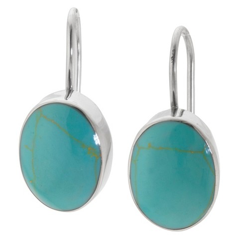 Sterling Silver Oval Drop Earrings with Stone - Turquoise