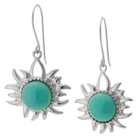 Sterling Silver Sun Drop Earrings with Stone - Turquoise