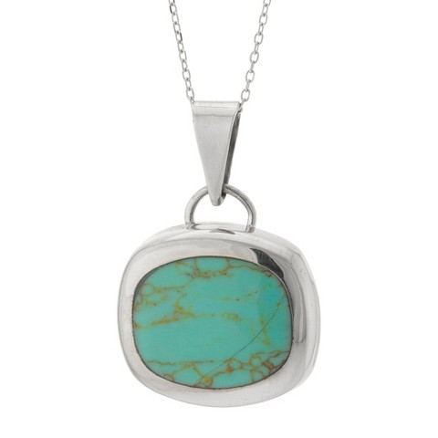 Sterling Silver Pendant with Stone - Turquoise