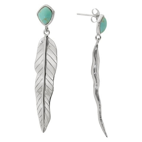 Sterling Silver Drop Cluster Earrings with Inlay - Turquoise