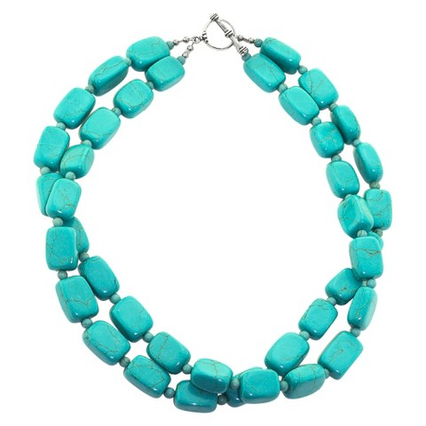 Sterling Silver Double Strand Bead Necklace - Turquoise