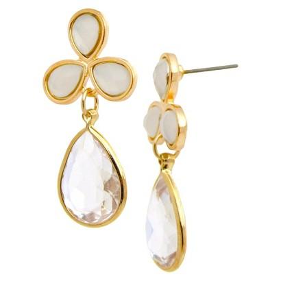 Dangle Earrings - Gold/White