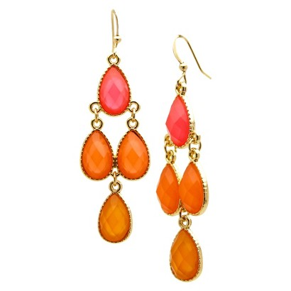 Dangle Earrings - Gold/Coral