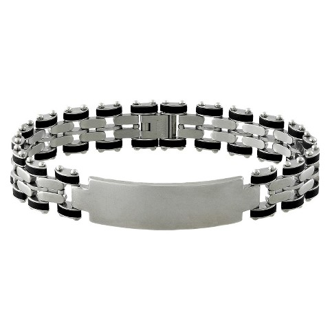 Stainless Steel and Rubber ID Bracelet