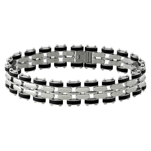 Men's Stainless Steel and Rubber Link Bracelet