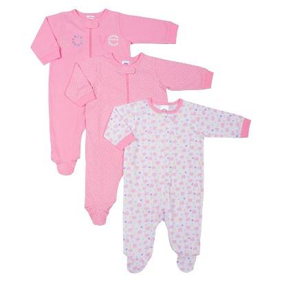 Gerber® Newborn Girls' 3 Pack Long-sleeve Elephant Sleep N' Play - Pink