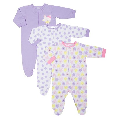 Gerber® Newborn Girls' 3 Pack Assorted Zipper Front Sleep N' Play