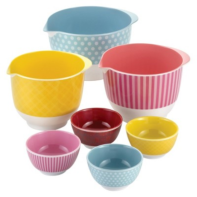 Cake Boss 7 Piece Countertop Accessories Melamine Mixing and Prep Bowl Set
