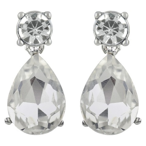 Women's Button Earrings Round Post and Teardrop Crystal  - Silver/Clear