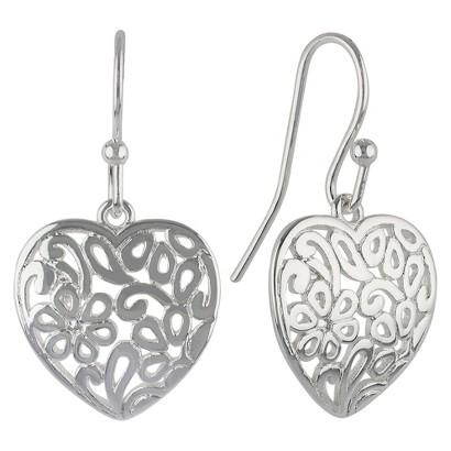 Women's Silver Plate Dangle Earrings Heart With Bali Design - Silver