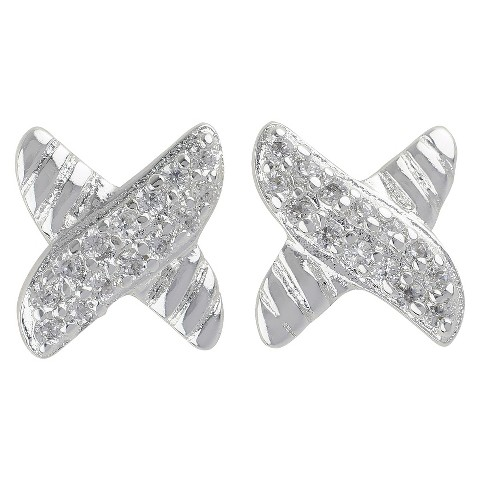 Women's Silver Plated Button Earrings X-Shape with Pave Cubic Zirconia and Rope - Silver/Clear