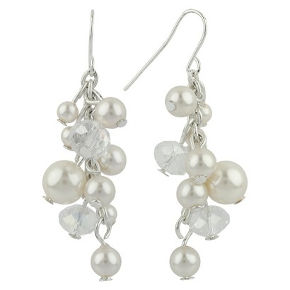 Women's Cluster Earrings Dangle Drop Crystal and Pearl  - Silver/Cream