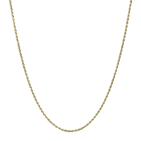 "Chain Necklace Gold Plate Solid Rope - Gold (24"")"