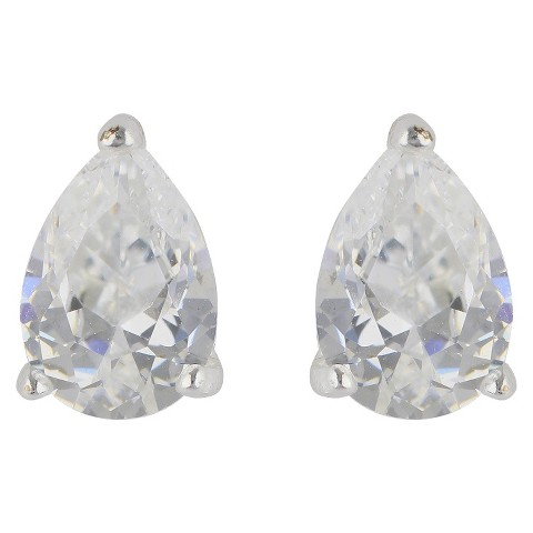 Women's Sterling Silver Stud Earrings Pear Shape  Silver/Clear