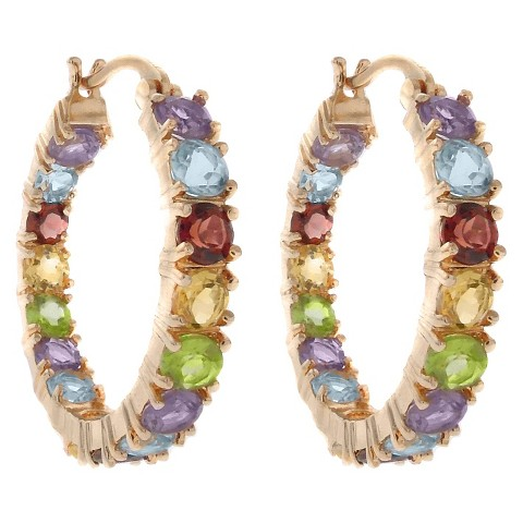 18k Gold Overlay Multi Gemstone Inside-Out Hoop Earrings