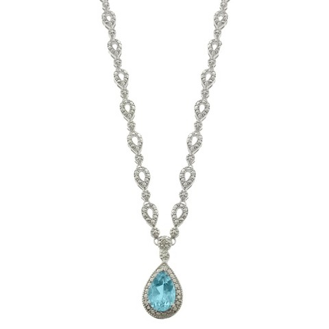 Silver Overlay Blue Topaz and Diamond Accent Teardrop Necklace