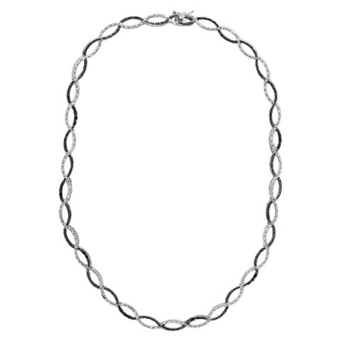 Silver Overlay Diamond Accent Black and White Infinity Necklace