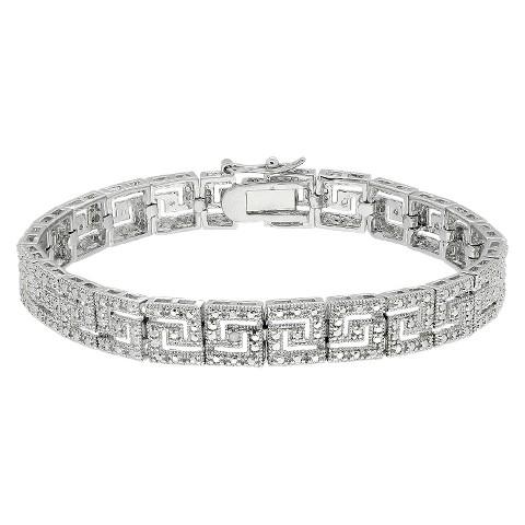 Sterling Silver 1 Carat TW Diamond Greek Key Bracelet