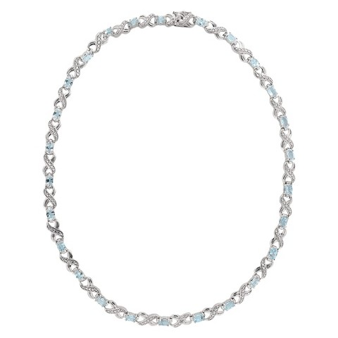 Silver Overlay Blue Topaz and Diamond Accent XO Link Necklace